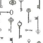 Addison Vintage Keys Charcoal Wallpaper 2532-20423
