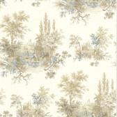 302-66847 La Belle Maison Pictorial Romance Toile Sapphire Wallpaper