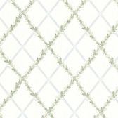 302-66883 Heirloom Harlequin Trellis Blue-Green Wallpaper