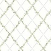 Heirloom Harlequin Trellis Blue-Green Wallpaper 302-66883