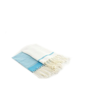 Fouta Guest Towel - White & Turquoise - Set of 2
