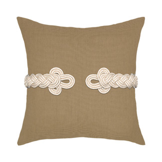 Beige Frog's Clasp Accent Pillow