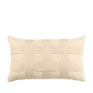 Basketweave Ivory Lumbar Accent Pillow