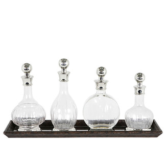 Set of 4 Decanters with Leather Tray