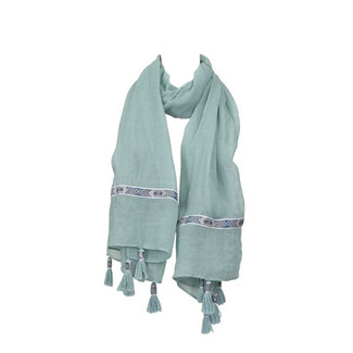 Mint Ribbon Tassel Scarf