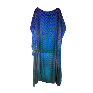 Silk Shibbori Kaftan Midnight Blue