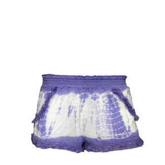 White Purple Tie Dye Shorts