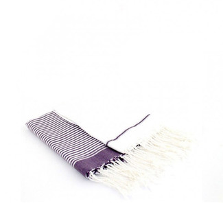 Fouta Guest Towel - White & Purple - Set of 2