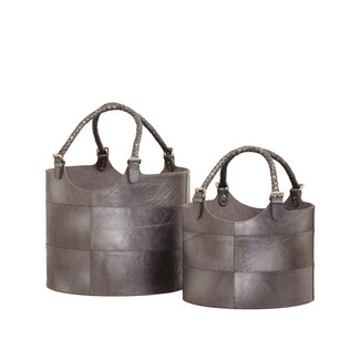 Nested Gunmetal Leather Buckets- Set of 2