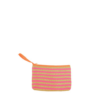 Fuchsia Oatmeal Striped Clutch
