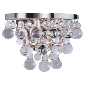 Glass & Polished Nickel Wall Sconce
