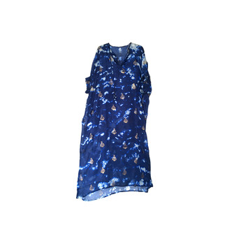 Silk Tabby Long Kaftan Midnight Blue