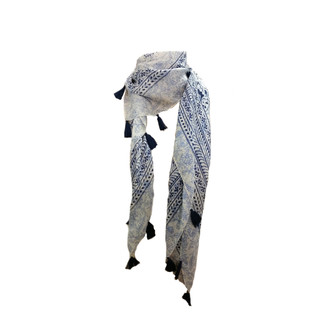 White & Blue Floral Print Scarf with Tassels