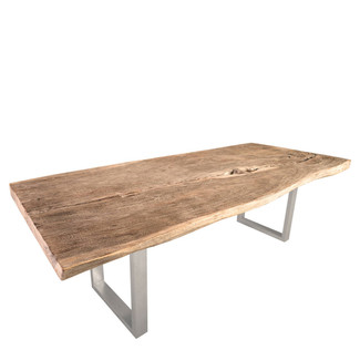 Chamcha Wood Dining Table with Stainless Steel Legs - 96""