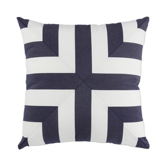 Blue and White Striped Pillow Mitered Cross
