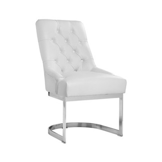 Chic White Leather Dining Chair