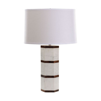White Marble and Wood Table Lamp