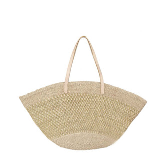 Abaca Tote with Silver Stitch