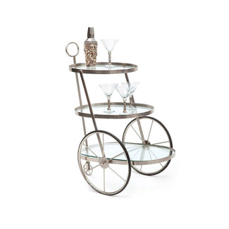 Vintage Nickel Plated Bar-Tea Cart