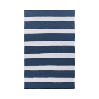 HAND WOVEN BLUE & IVORY SYNTHETIC YARN RUG