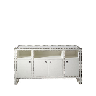 Grass Cloth Large Cabinet - White