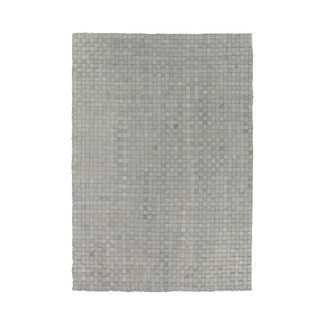 Hand-Woven Gray Leather-Checkered Area Rug