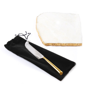 White Marble Cheese Set with Metallic Edging