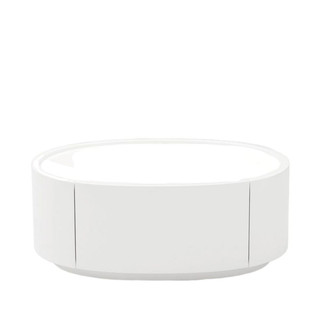White Lacquer Oval Nightstand