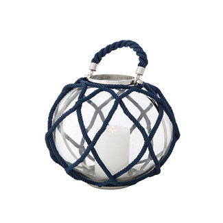 Round Hurricane Lantern with Blue Rope - Large