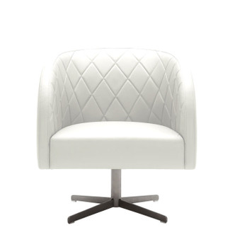 Diamond-Stitched Leather Swivel Armchair