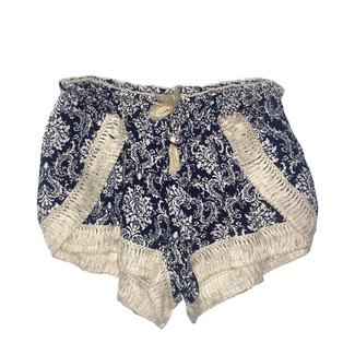 Navy and Ivory Fringe Trim Shorts