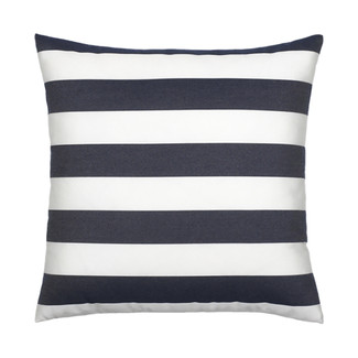 Navy Blue and White Striped Pillow