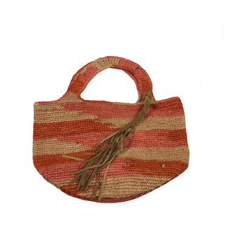 Red and Natural Crochet Raffia Handbag
