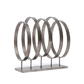 Black Iron Circles Sculpture
