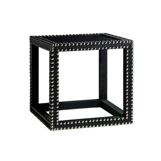 Textured Grass Cloth Side Table - Black Lacquer