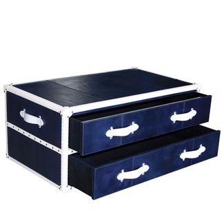 Blue & White Leather Steam Trunk Coffee Table