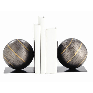 Iron/Brass Sphere Bookends Pair