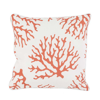 CORAL ON WHITE INDOOR/OUTDOOR PILLOW
