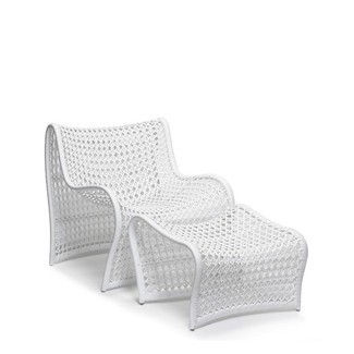 White Woven Patio Chair with Ottoman