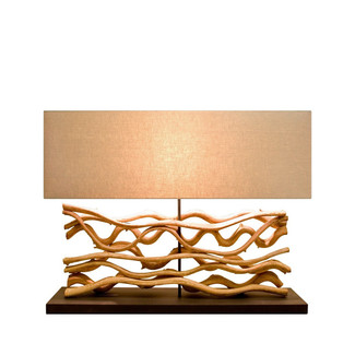 Large Sculpted Mango Wood Table Lamp