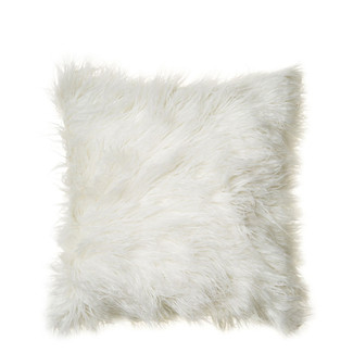 White Mongolian Fur Pillow 16x16