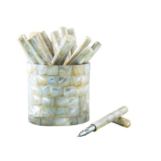 30 Piece Mother of Pearl Covered Pen Set with Cup