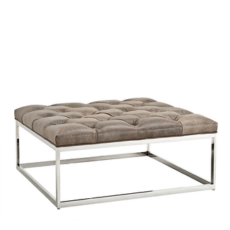 Tufted Leather Top Coffee Table