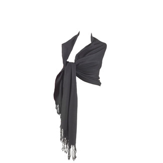 Vintage Fringed Charcoal Shawl 26x81
