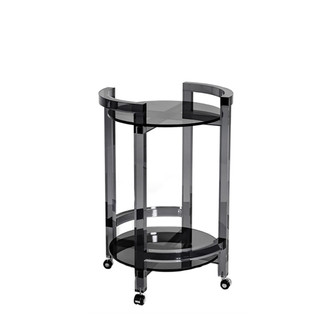 Round Smoke Glass & Acrylic Bar Cart