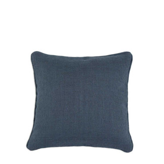 Navy Blue Burlap Corded Pillow