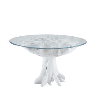 White Teak Root Glass Top Table