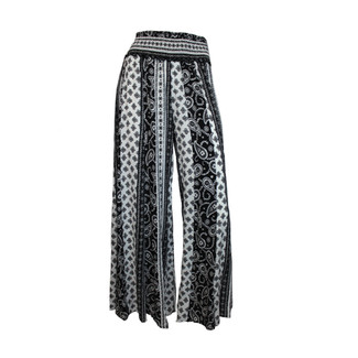 Paisley Print Wide Leg Pants - Black