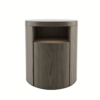 Round Walnut Nightstand
