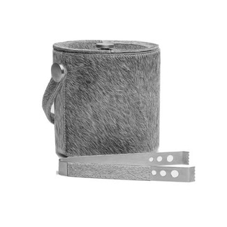Browmley Hair-On-Hide Ice Bucket & Tongs